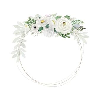 Vintage biały bukiet kwiatów akwarela z okrągłymi ramkami z drutu