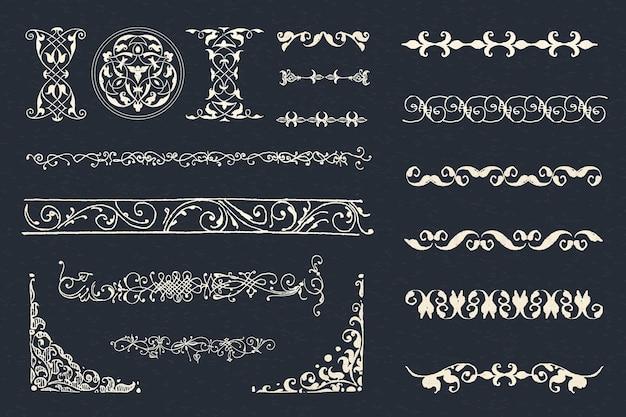 Vintage biały zestaw ozdobnych przekładek, remiks z the model book of calligraphy joris hoefnagel i georg bocskay