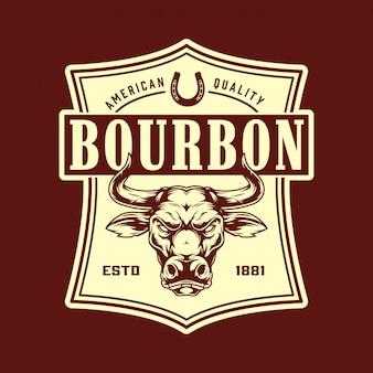 Vintage bourbon monochromatyczne godło