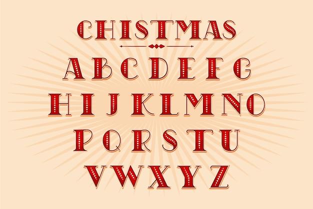 Vintage boże narodzenie alfabet paczka