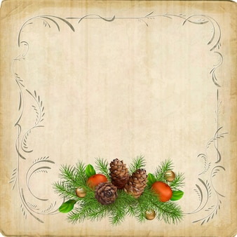 Vintage boże narodzenie kartkę z życzeniami z christmas garland