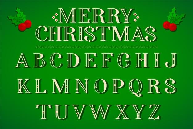 Vintage boże narodzenie litery alfabetu