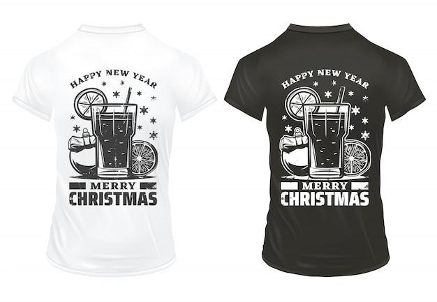 Vintage boże narodzenie wakacje drukuje szablon z napisami koktajl plasterek cytryny świąteczna piłka na koszulkach na białym tle