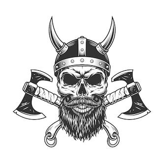 Vintage brodata i wąsata czaszka wikingów