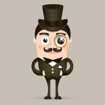 Vintage brytyjski dżentelmen z kapeluszem