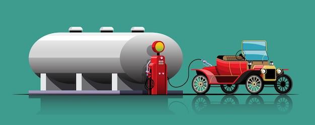 Vintage cabrio parking do tankowania przy zbiorniku paliwa