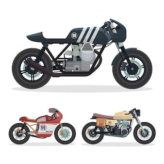 Vintage cafe racer zestaw ilustracji motocykla
