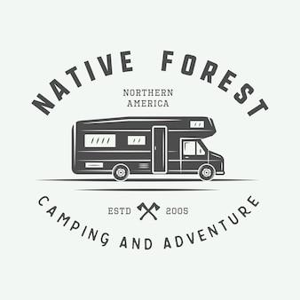Vintage camping outdoor i adventure logo odznaka etykiety godło znak graficzny grafika wektorowa