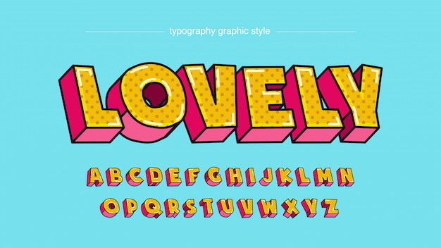 Vintage cartoon style bold 3d yellow pink text effect