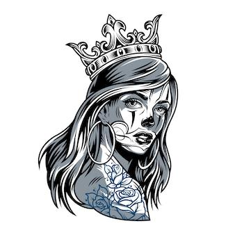Vintage chicano dziewczyna nosi koronę