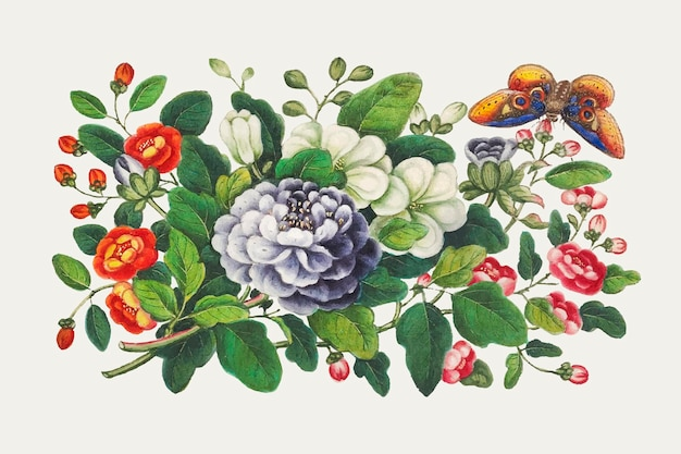 Vintage chiński wektor bukiet kwiatów
