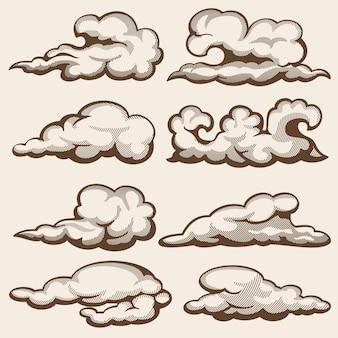 Vintage chmury grawerowania. ręcznie rysowane zestaw
