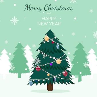 Vintage choinka wesołych świąt i szczęśliwego nowego roku