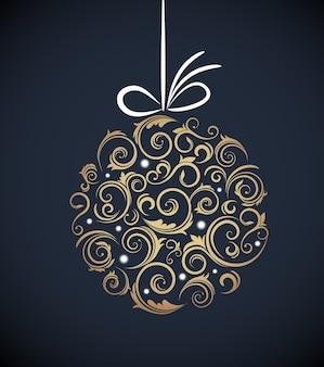 Vintage christmas ball z ornamentem retro na niebieskim tle dart. ilustracja