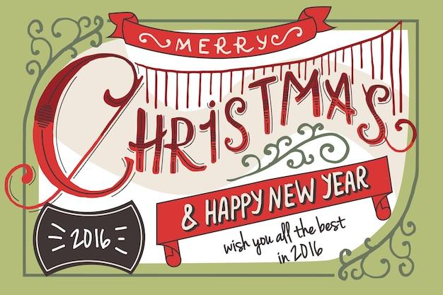 Vintage christmas card vintage napis podpisu wesołych świąt i szczęśliwego nowego roku vector