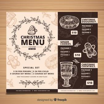 Vintage christmas menu szablon