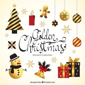 Vintage christmas złota ozdoba kolekcji