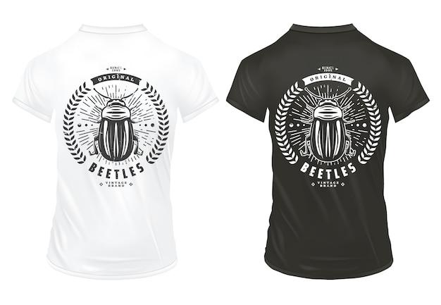 Vintage chrząszcze drukuje szablon z napisem mały błąd wieniec laurowy sunburst na czarno-białych koszulach na białym tle