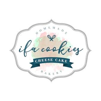 Vintage ciasteczka i szablon marki piekarnia