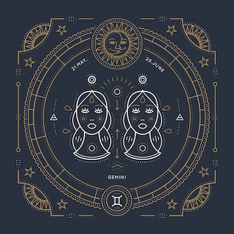 Vintage cienka linia znak zodiaku gemini. retro symbol astrologiczny, mistyczny, element świętej geometrii, godło, logo. ilustracja kontur obrysu.