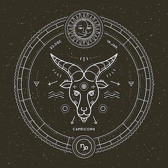 Vintage cienka linia znak zodiaku koziorożec. retro wektor symbol astrologiczny, mistyczny, element świętej geometrii, godło, logo. ilustracja kontur obrysu.