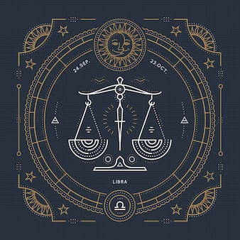 Vintage cienka linia znak zodiaku libra. retro symbol astrologiczny, mistyczny, element świętej geometrii, godło, logo. ilustracja kontur obrysu.