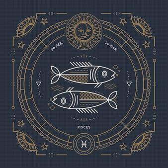 Vintage cienka linia znak zodiaku ryby. retro symbol astrologiczny, mistyczny, element świętej geometrii, godło, logo. ilustracja kontur obrysu.