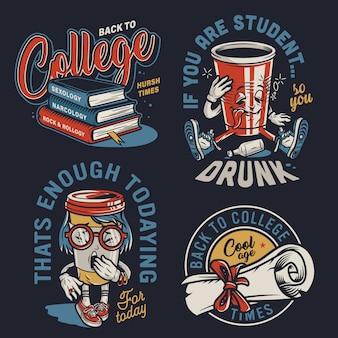 Vintage college kolorowe etykiety