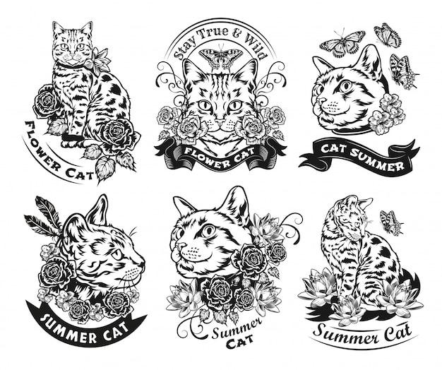 Vintage czarno-biały kot, kwiaty i motyl. płaska ilustracja. graficzne szkice kota w ozdobnym stylu z różami, lotosami, ćmami. koncepcja dzikiej przyrody lub zwierząt dla szablonu tatuażu