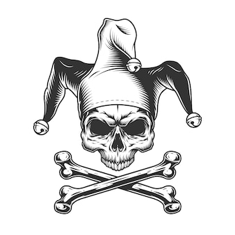 Vintage czaszka błazna bez szczęki