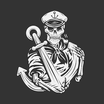 Vintage czaszka marynarza z ilustracją kotwicy