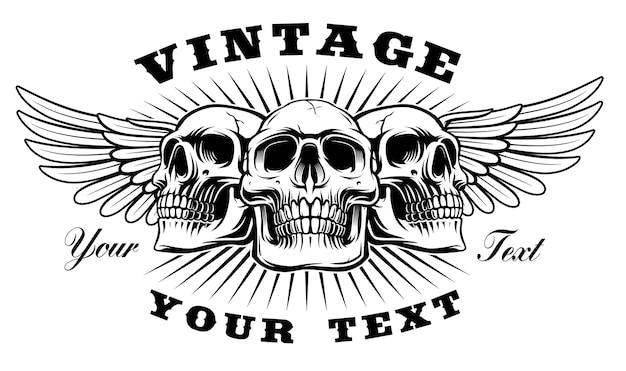 Vintage czaszka ze skrzydłami na białym tle.