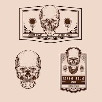Vintage czaszki premium wektor zestaw