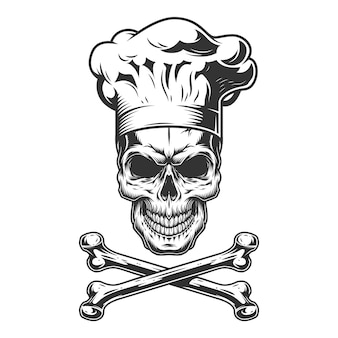 Vintage czaszki w kapeluszu szefa kuchni