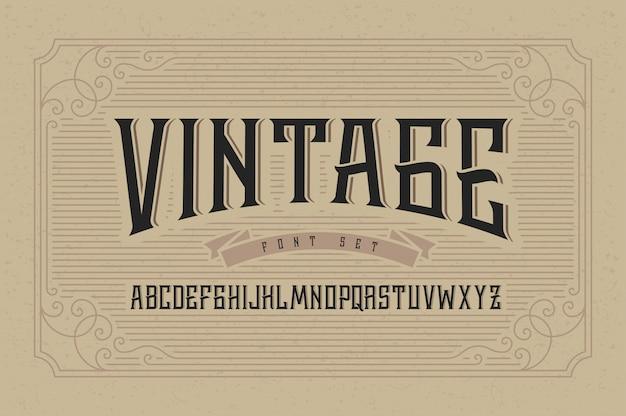 Vintage czcionka wektorowa z ozdobnym ornamentem