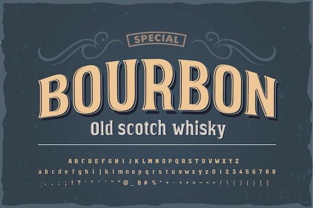 Vintage czcionki bourbon