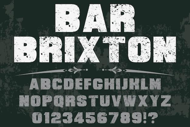 Vintage czcionki kolorowe retro krój pisma bar brixton