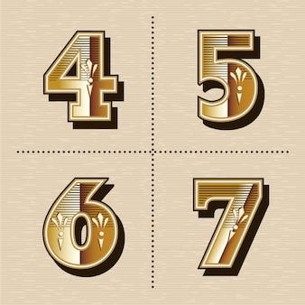 Vintage czcionki zachodniej litery alfabetu cyfr