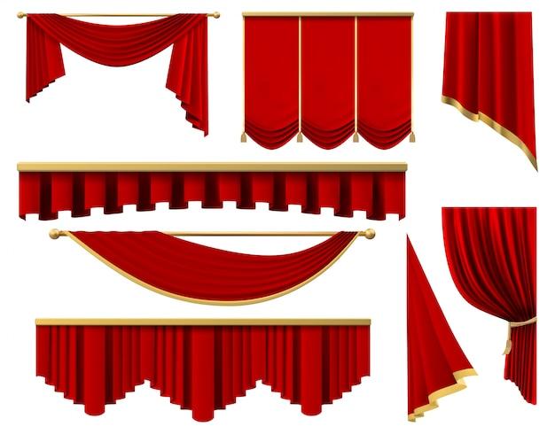 Vintage czerwone realistyczne zasłony. scena luksusowa szkarłatna zasłona z tkaniny, jedwabne wewnętrzne draperie lambrekinowe zestaw ilustracji. premiera czerwona portiere ze złotym do elementów teatralnych lub kinowych