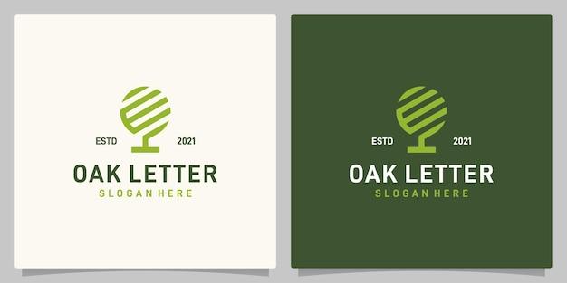 Vintage dąb streszczenie logo wektor z inspiracją logo litera e lub w. wektor premium