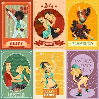 Vintage dance płaskie ikony kompozycji plakat
