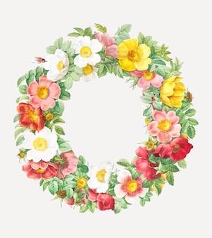 Vintage dekoracja wieniec kwiatowy