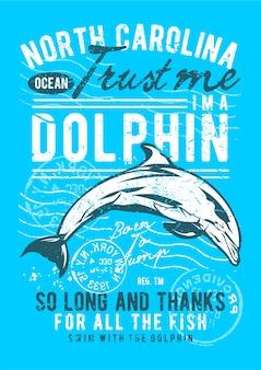 Vintage delfin, plakat vintage ilustracji.