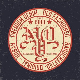Vintage denim typografia, grafika t-shirt grunge, vintage grunge artwork odzież pieczęć, vintage denim wear tee print design, denim goods emblem