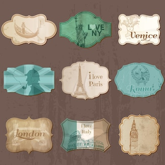 Vintage design city elements for scrapbook