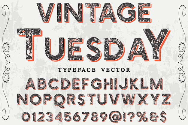 Vintage design czcionki wtorek