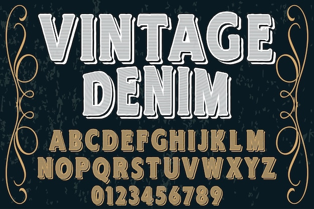 Vintage design denim z etykietami czcionek