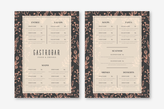 Vintage design menu restauracji