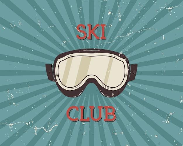Vintage design narciarski z goglami i tekstem, klub narciarski
