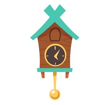 Vintage drewniany zegar z kukułką z wahadłem